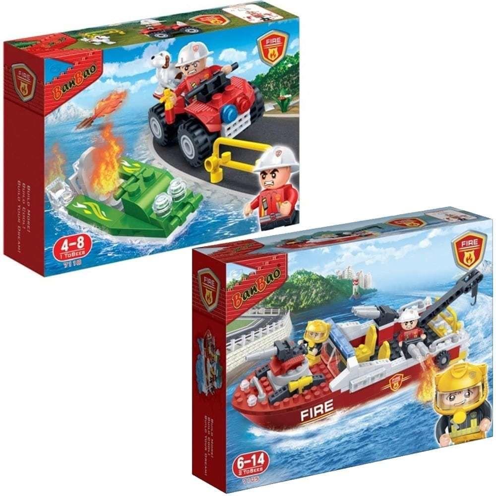 Banbao Pack Jeu de construction Pompiers Quad + Hors Bord + Vedette avec remorqueur
