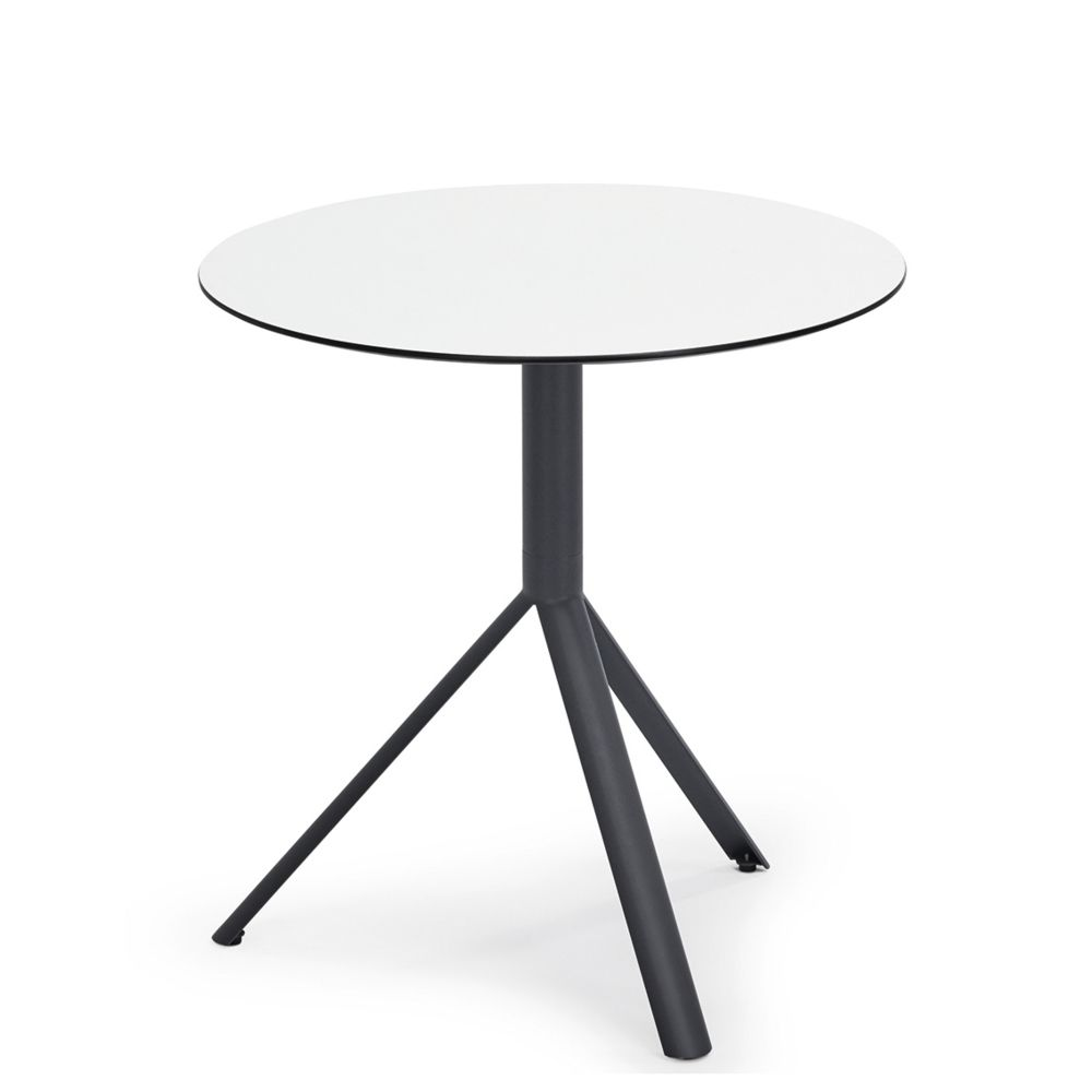 Weishaupl Table de bistro Trio - carrée - Ø 60 cm - blanc - gris métallique - Ø 60 cm - blanc - gris métallique