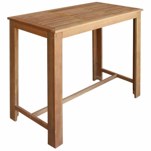 Helloshop26 - Table haute mange debout bar bistrot bois d'acacia massif 120 cm 0902062 - Helloshop26