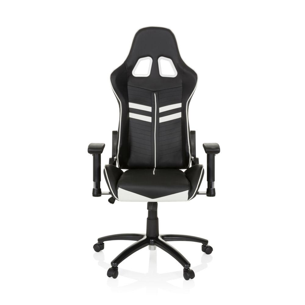Hjh Office Chaise gaming / Chaise de bureau LEAGUE PRO simili cuir noir / blanc hjh OFFICE