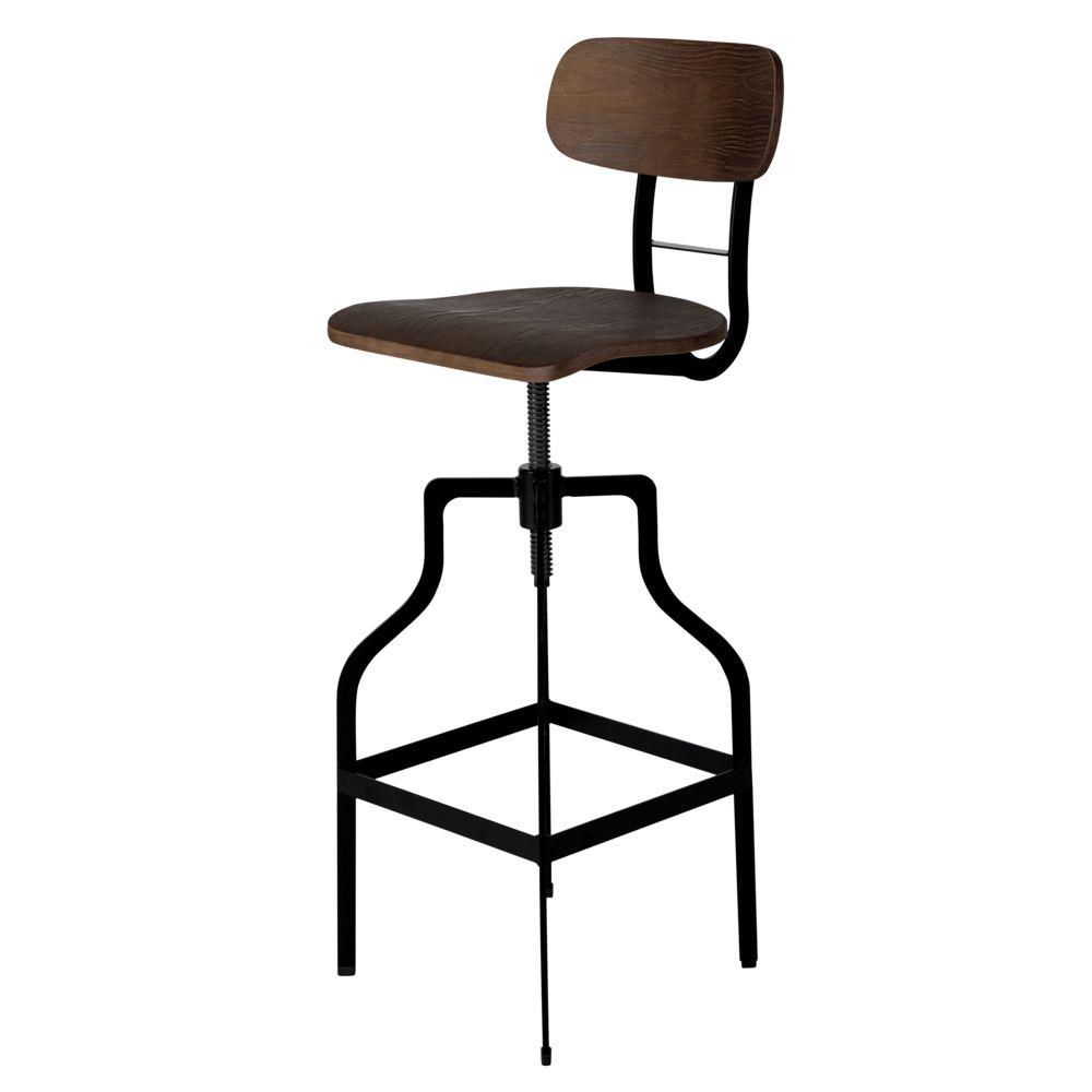 Rendez Vous Deco Chaise de bar Retro bois 66/85 cm