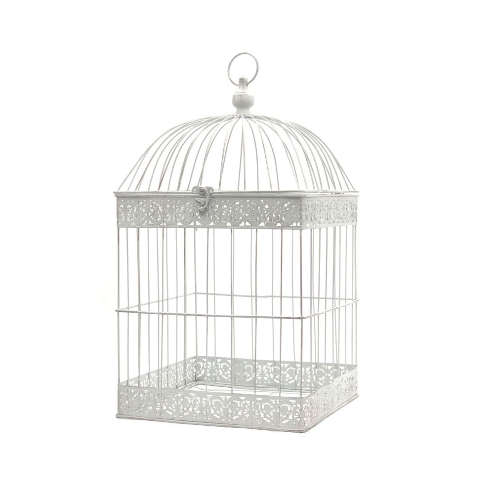 L'Originale Deco Grande Cage Oiseaux Bougie Carré Blanc 62 cm x 34 cm x 34 cm