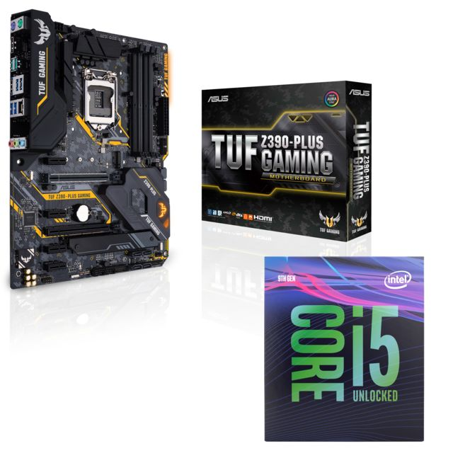 Intel - Core i5 9600K - 3,7/4,6 GHz + Carte mère TUF Z390 Plus Gaming Asus - Kit d'évolution Intel