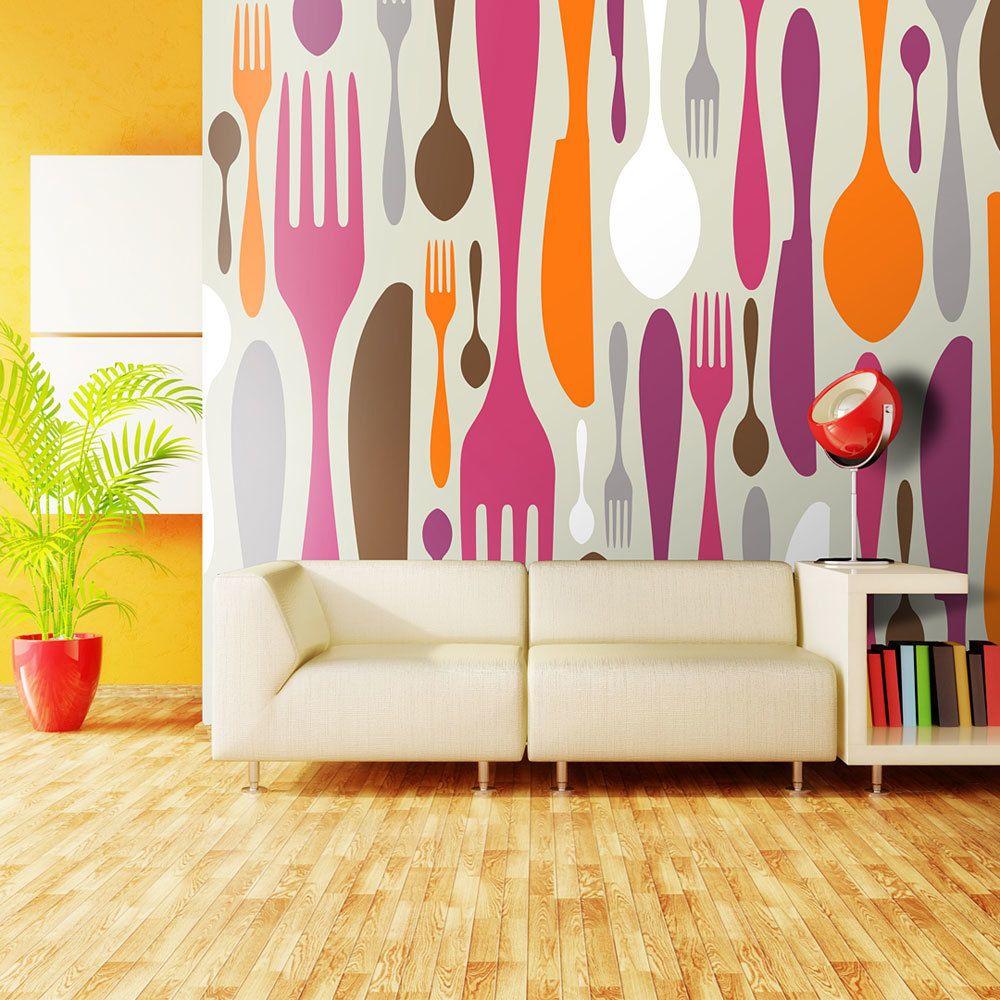 Bimago Papier peint   Couverts en rose et violet   350x270   Motifs de cuisine  