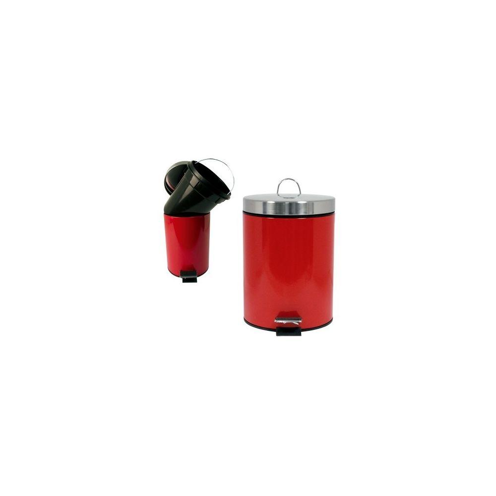 Msv Poubelle metal 12 litres rouge