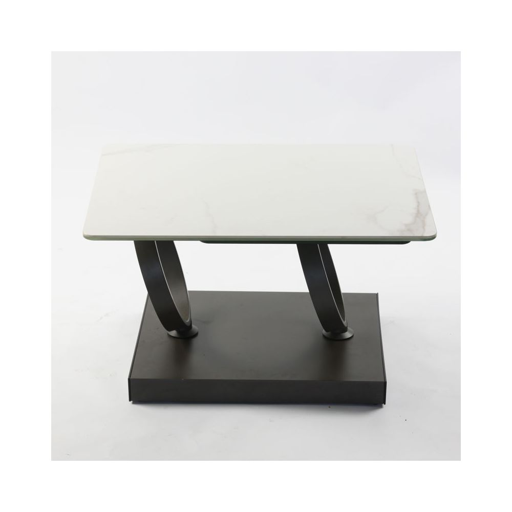 Tousmesmeubles Table basse articulée rectangulaire Acier/Verre/Marbre blanc - VERRO