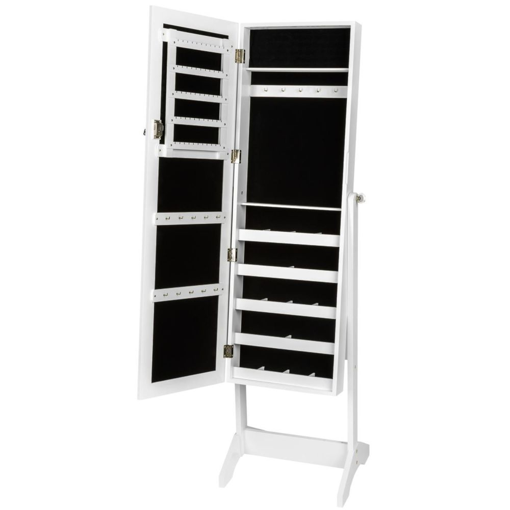 Helloshop26 Armoires placard à bijoux bois blanche miroir chambre dressing 1408002