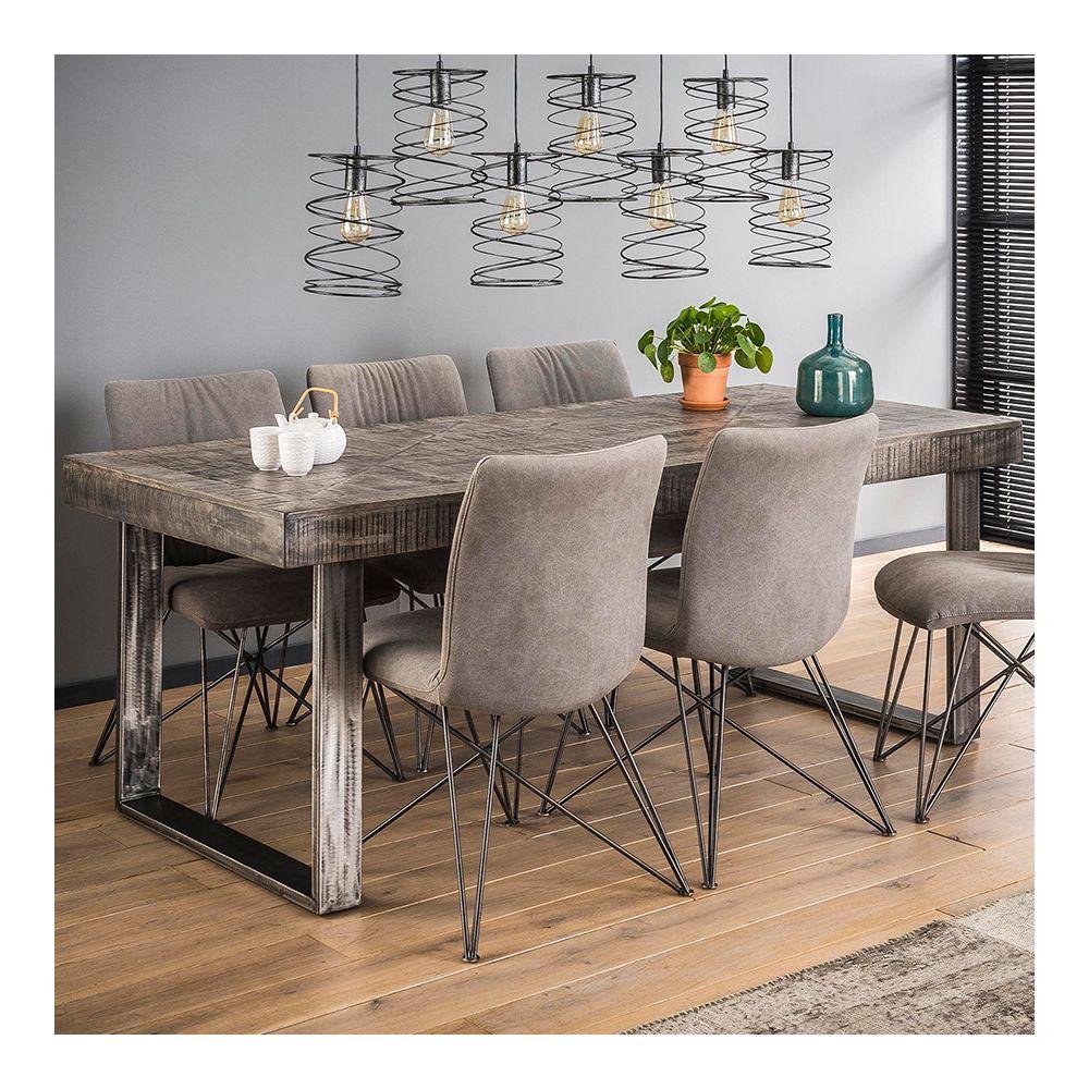 Nouvomeuble Table à manger en bois massif gris et métal noir DAYTON