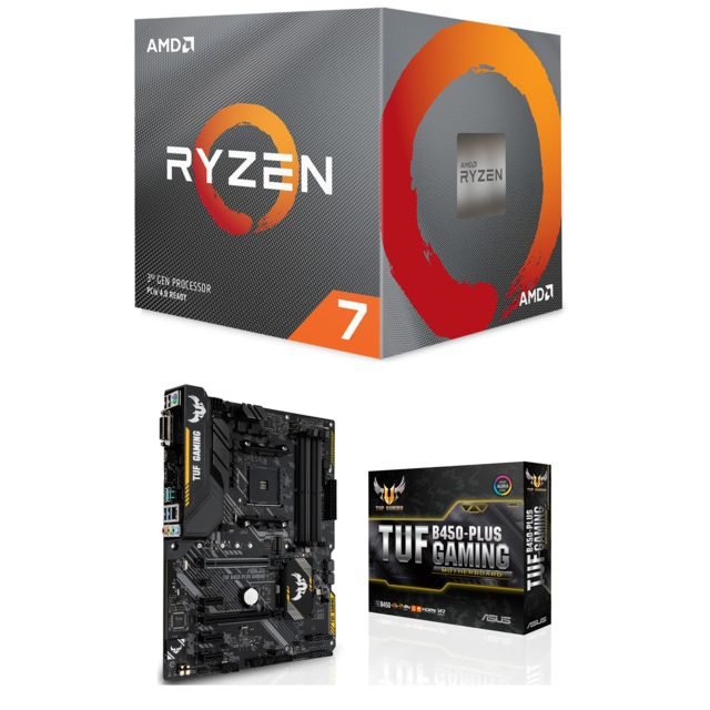 Amd - Ryzen 7 3700X Wraith Prism LED RGB - 3,6/4,4 GHz  + Carte mère Gaming TUF B450 Plus Asus - Kit d'évolution