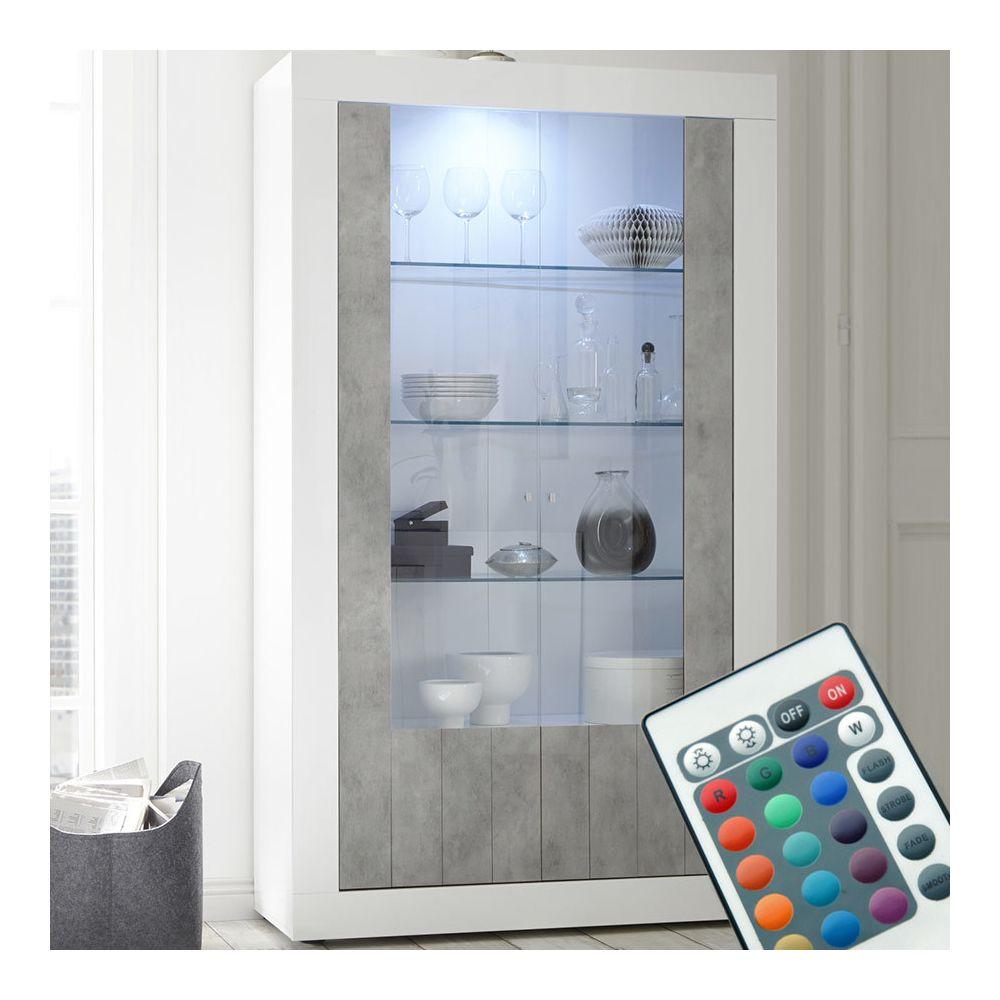 Sofamobili Vaisselier LED moderne blanc et effet béton SERENA 5