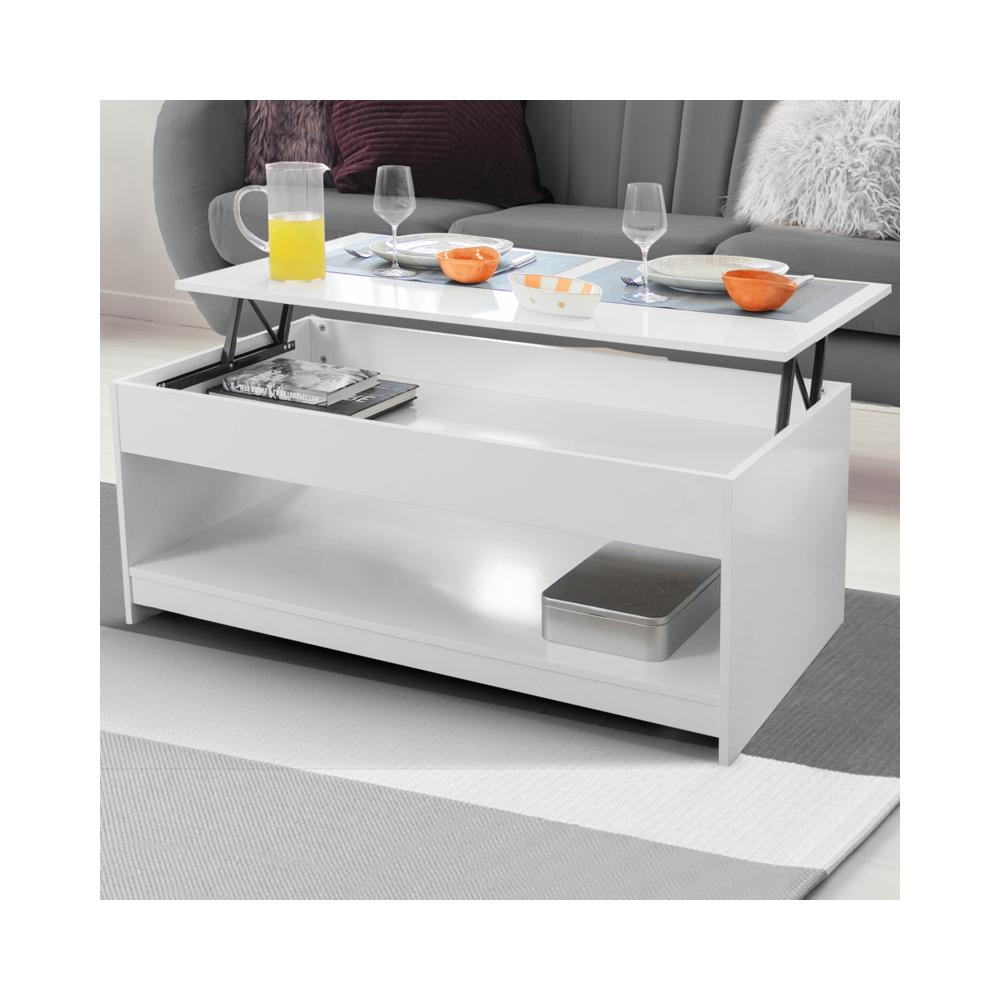 Idmarket Table basse plateau relevable Soa bois blanc
