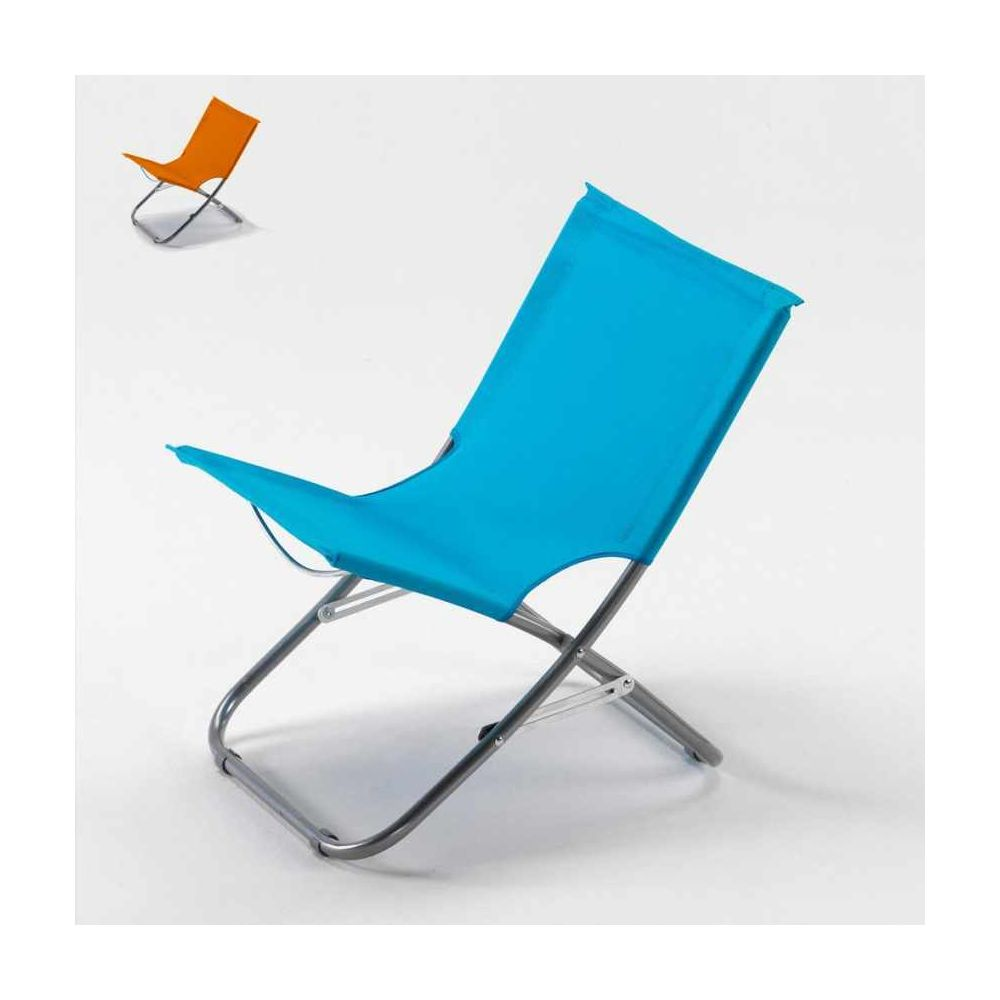Beach And Garden Design Chaise de plage transat pliante fauteuil piscine acier Rodeo, Couleur: Bleu
