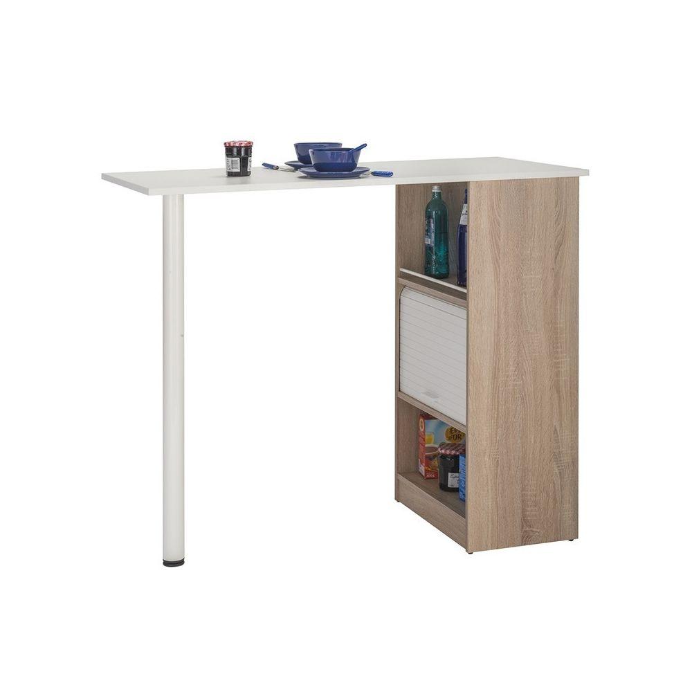 Tousmesmeubles Table comptoir de cuisine Bois/Blanc - FAYTOU