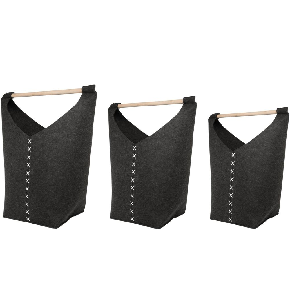 Beliani Lot de 3 corbeilles textilles grises foncés KESTEL