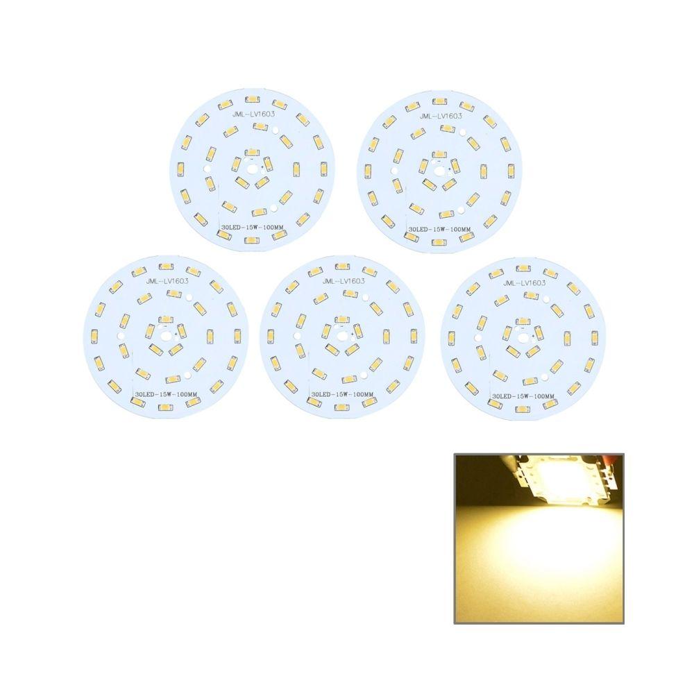 Wewoo Module LED blanc 5 PCS 15W 30 LEDS SMD5730 1350 LM 3000-6500K Panneau de base en aluminium, Diamètre: 100mm chaud