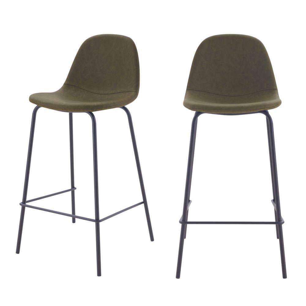 Rendez Vous Deco Chaise de bar mi-hauteur Henrik vert kaki 65 cm (lot de 2)