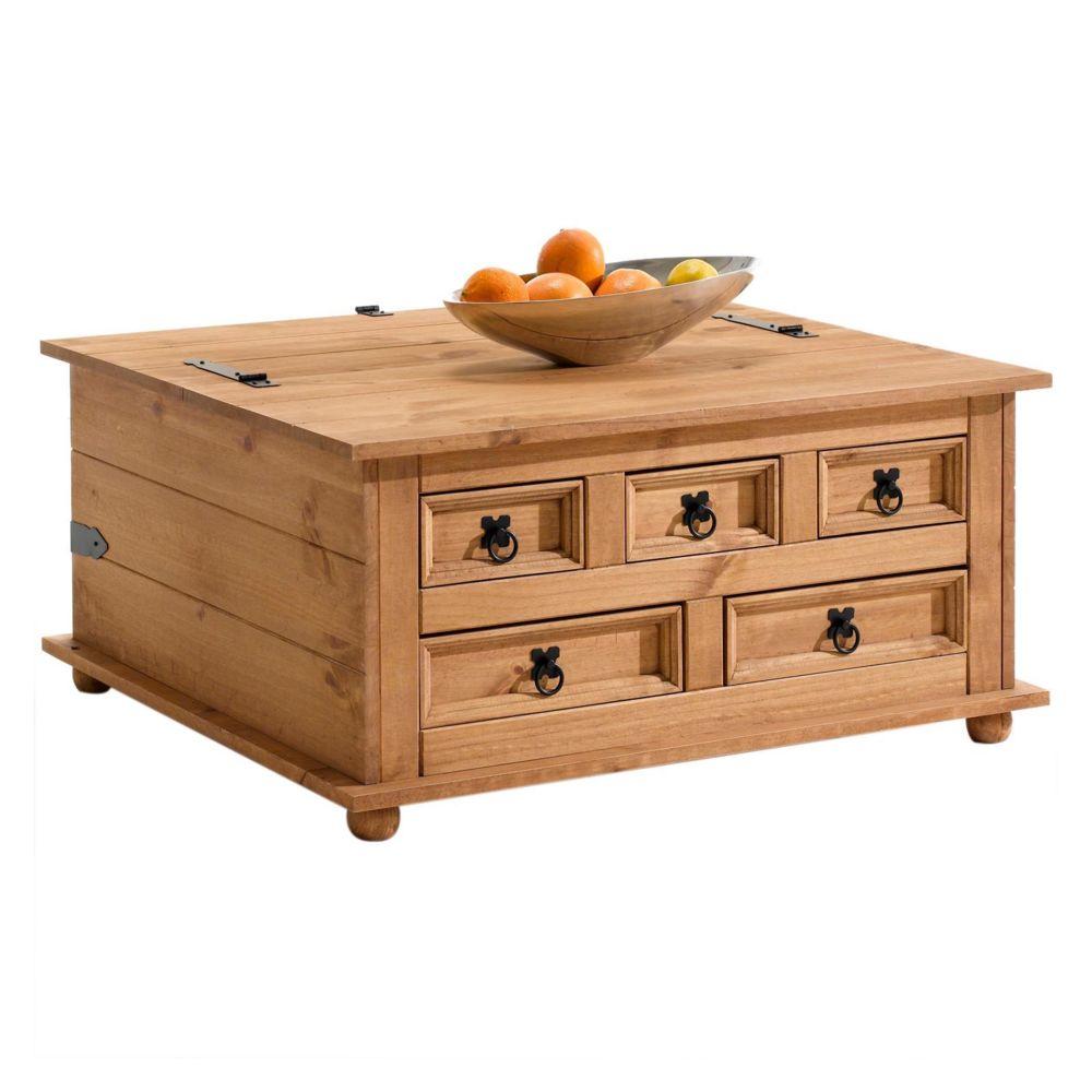 Idimex Table basse de salon TEQUILA coffre malle de rangement rectangulaire en bois style mexicain avec 5 tiroirs en pin massif