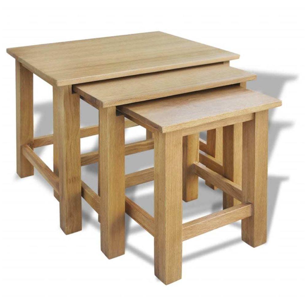 Uco UCO Tables gigognes 3 pcs Bois de chêne massif