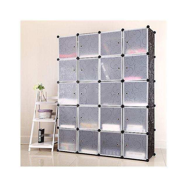 armoire a chaussures meuble de rangement diy etageres 20 cubes noir