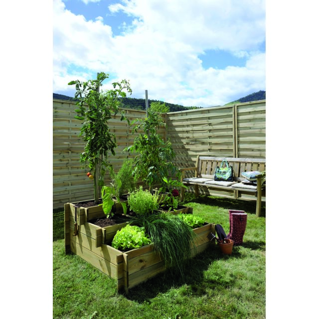 Burger - Carré potager UP' 3 étages - 9 cases - 371 L. - géotextile - Jardinerie