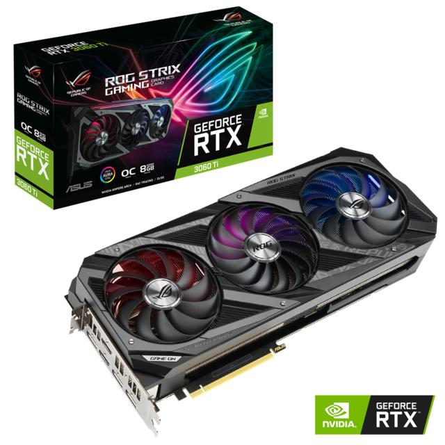 Asus - GeForce RTX 3060 Ti ROG STRIX GAMING OC - Triple Fan - 8Go - Carte Graphique NVIDIA Asus