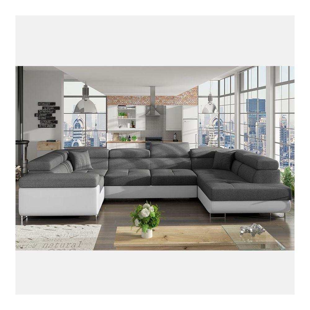 Nouvomeuble Canapé panoramique convertible gris et blanc WILLIS