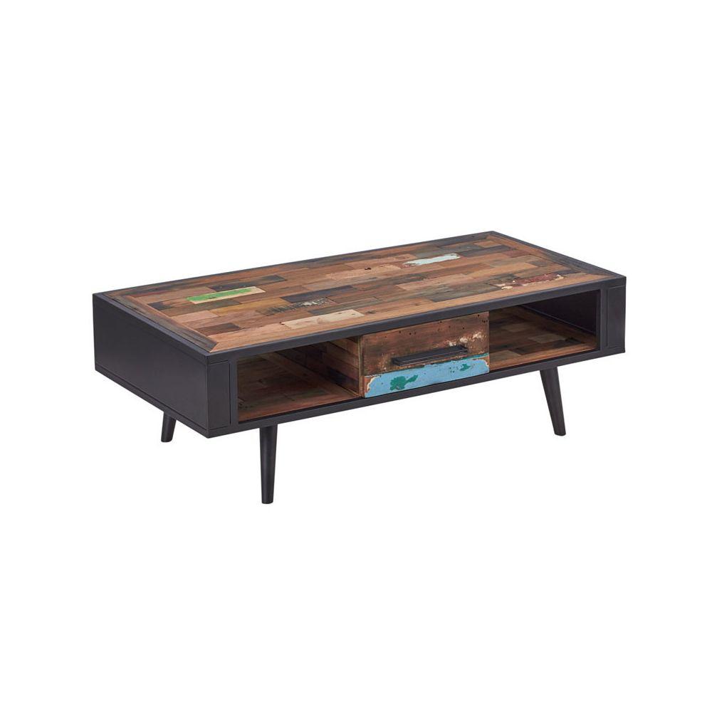Tousmesmeubles Table basse en bois 1 tiroir - MANHATTAN