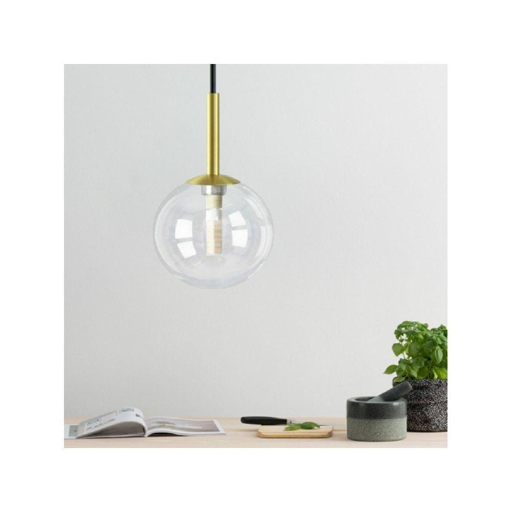 Wewoo Suspension luminaire Lustre Lampe Suspendue Boule créative en verre de cuivre avec 5W LED à lumière chaude transparent