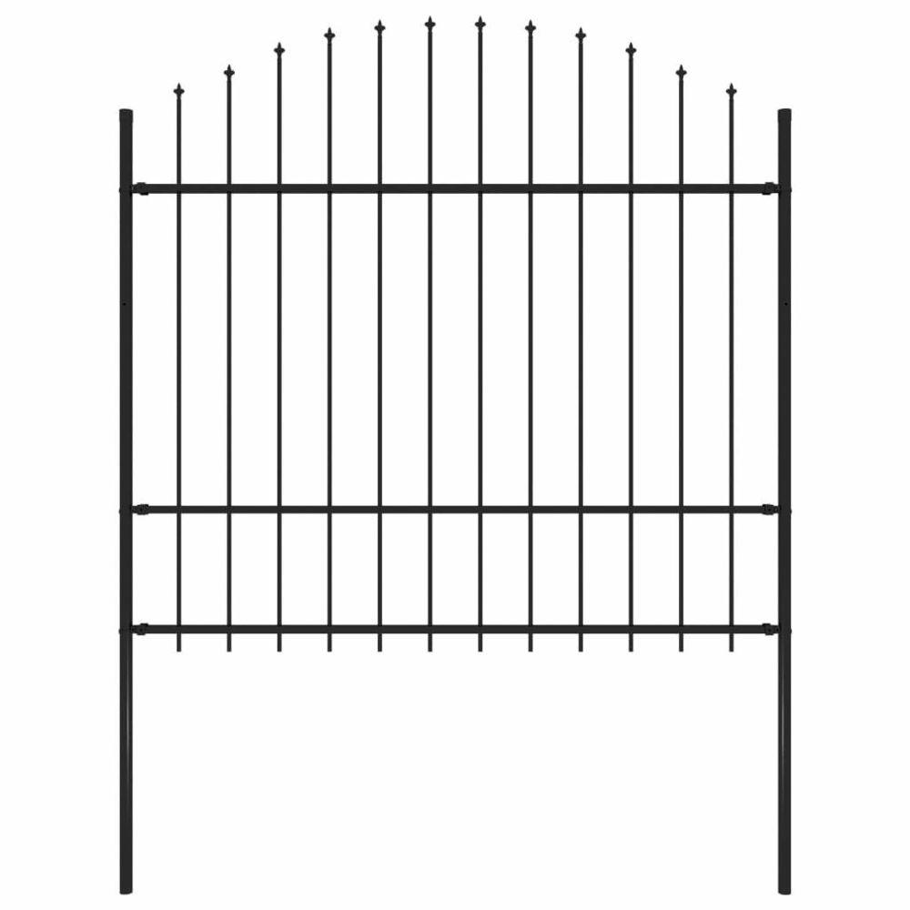 Vidaxl vidaXL Clôture de jardin à dessus en lance Acier (1,5-1,75)x1,7 m Noir