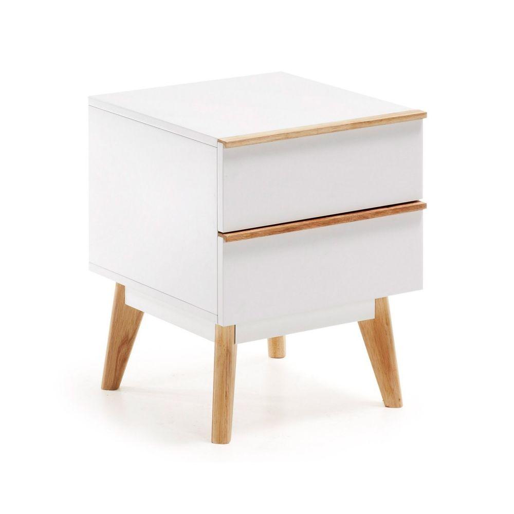 Ma Maison Mes Tendances Table de chevet 2 tiroirs MDF blanc et chêne massif ARIMA - L 42.5 x l 40 x H 50