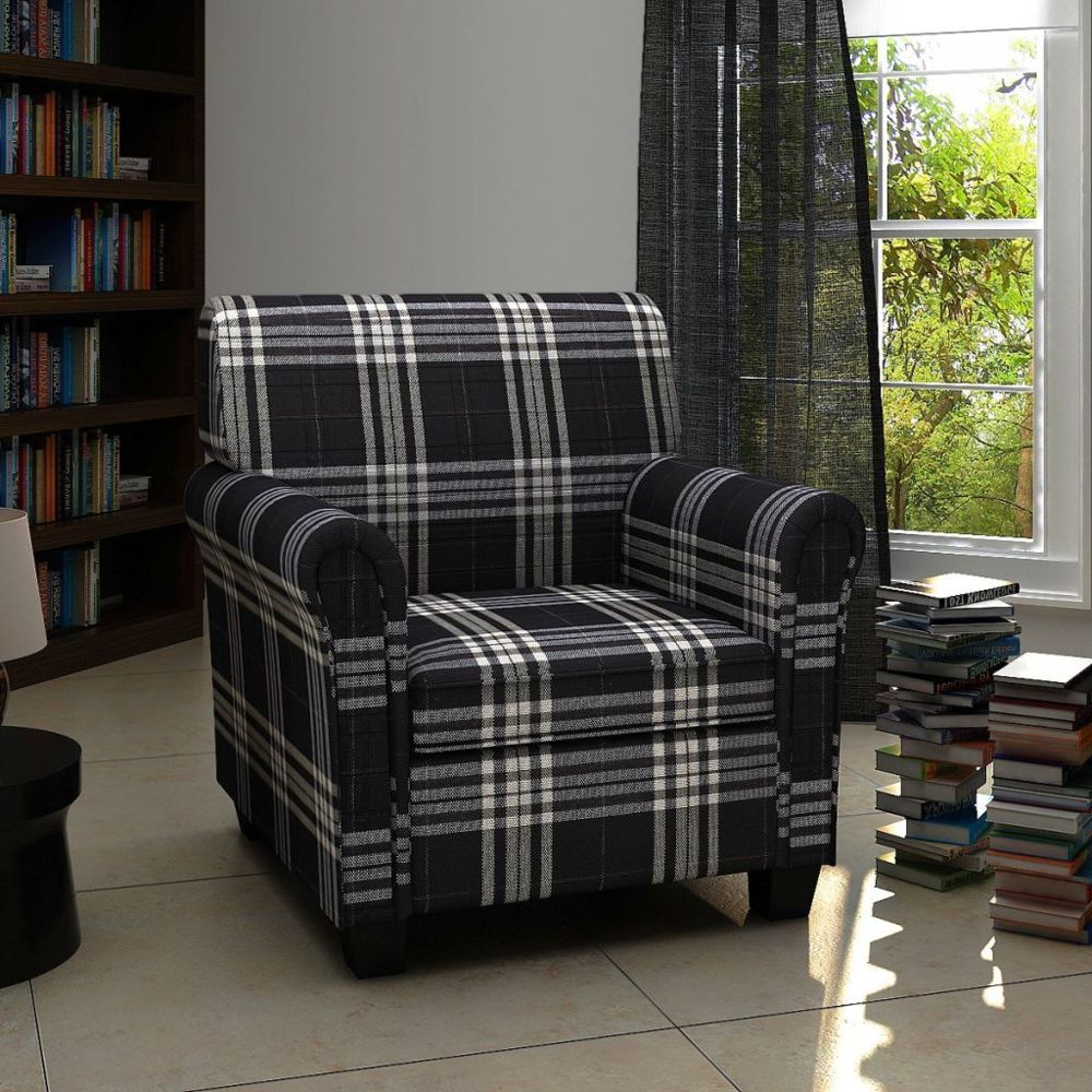 Vidaxl Fauteuil avec coussin Tissu Noir   Noir