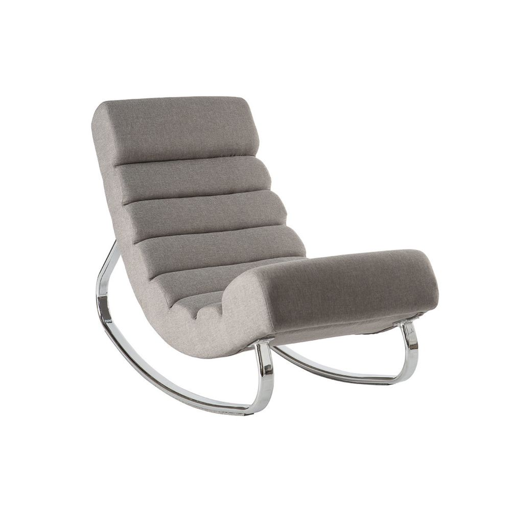 Miliboo Fauteuil rocking chair design en tissu gris clair TAYLOR