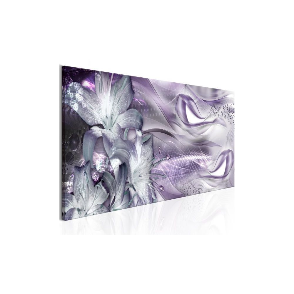 Planete Discount Tableau Lilies and Waves (1 Part) Narrow Pale Violet Taille 135 x 45 cm