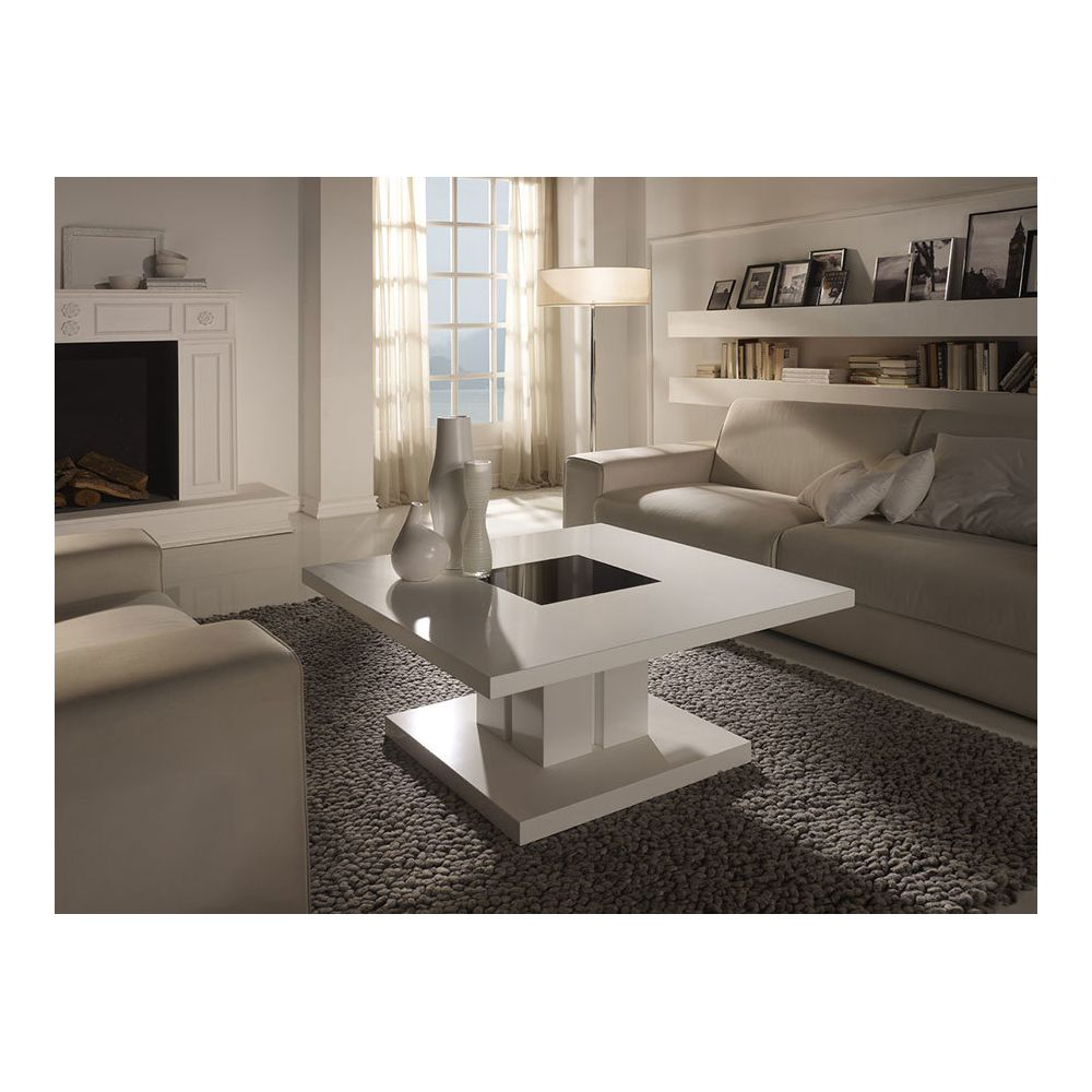 Sofamobili Table basse carrée blanc laqué design MIRTILLA