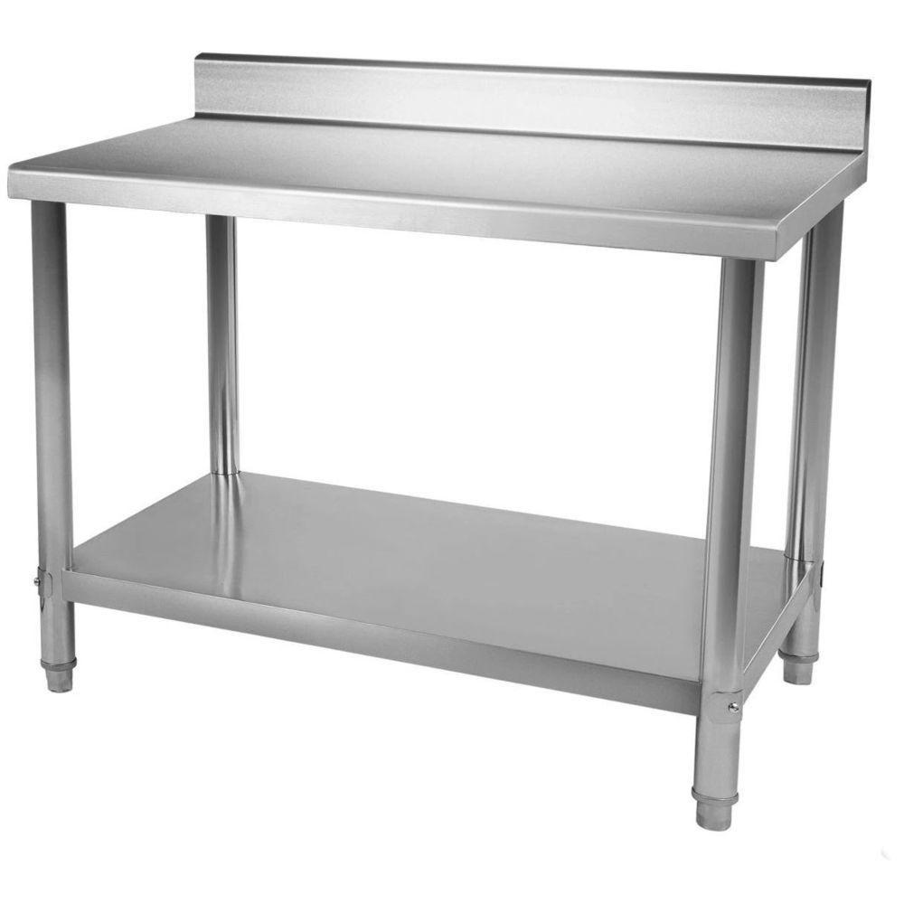 Helloshop26 Table de travail professionnelle acier inox pieds ajustable avec rebord 100 x 60 cm 3614079/2