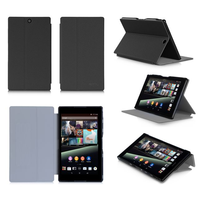 Xeptio - Housse Style Cuir luxe Ultra Slim tablette Sony Xperia Z3 Tablet Compact SGP611 / SGP621 noir - Etui coque - Marchand Bestventes