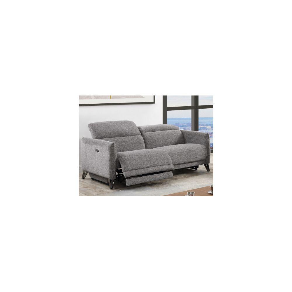 Vente-Unique Canapé 3 places relax électrique en tissu CEROLA - Gris