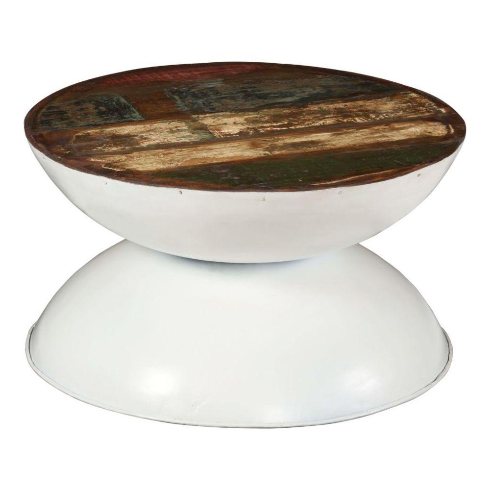 Vidaxl vidaXL Table basse Bois de récupération massif Base blanche 60x60x33cm