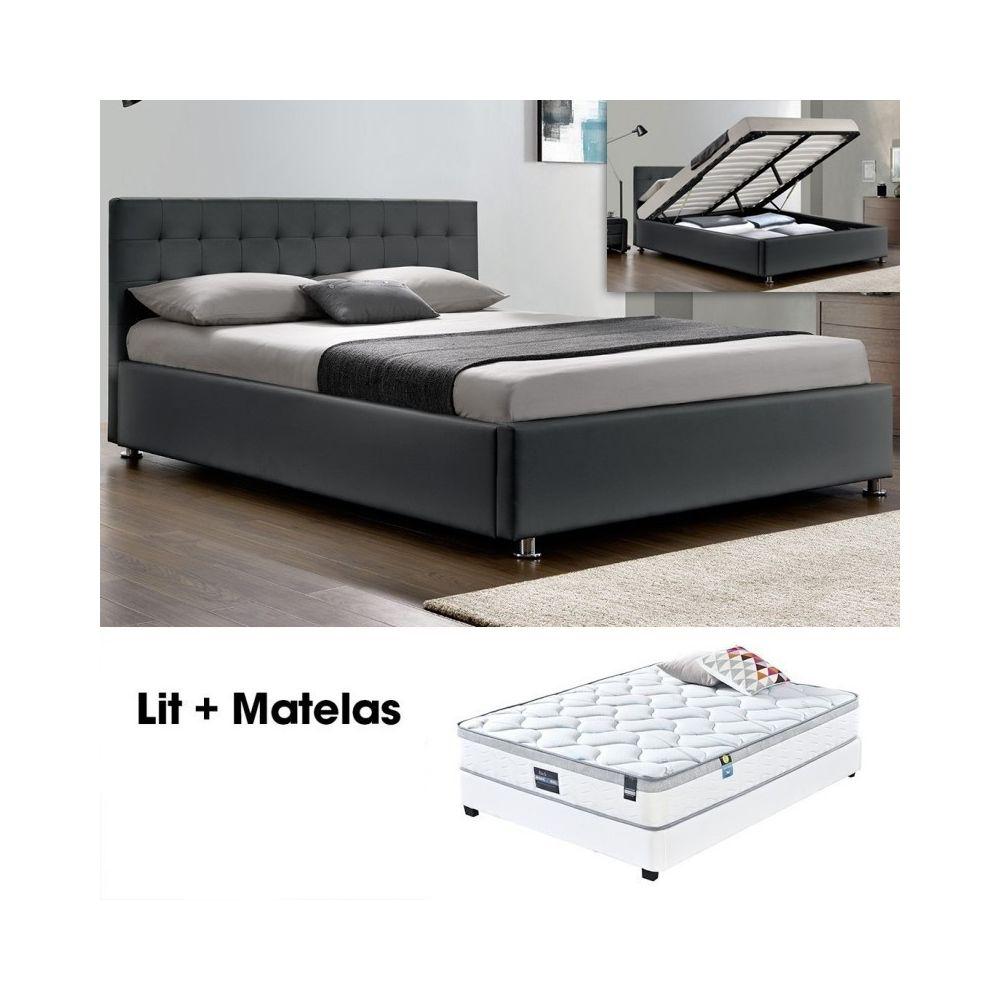 Meubler Design Lit complet Capitole + matelas Romance 160 Gris