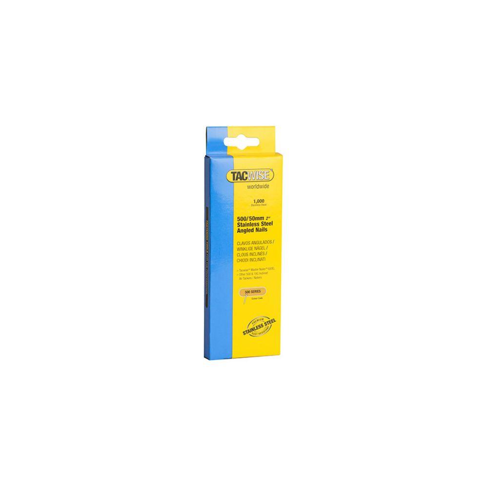 Tacwise Boîte de 1000 clous à tête plate en acier inoxydable en bandes inclinées 26° D. 1,5 x 50 mm - TA-1135 - Tacwise