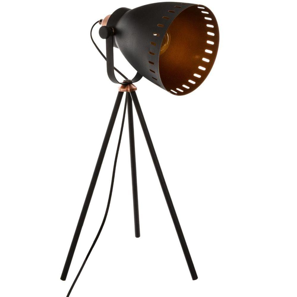 Pegane Lampe trépied en fer couleur noire - L.26,5 x l.23,5 x H.51,5 cm -PEGANE-