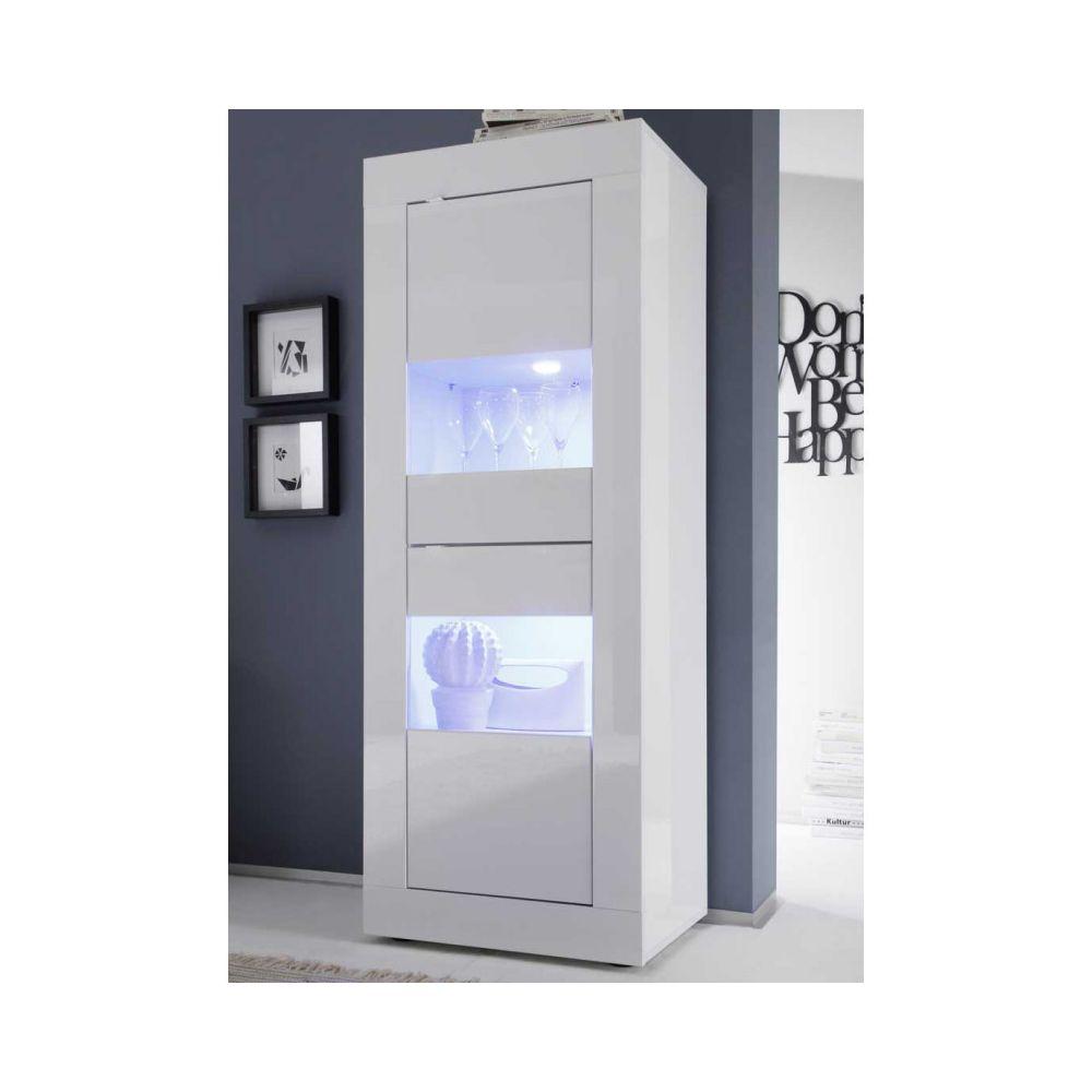 Tousmesmeubles Vitrine 2 portes Blanc laqué brillant à LEDS - MATERA