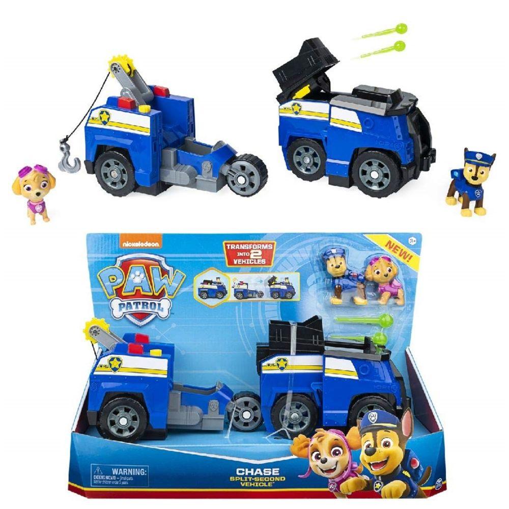 Spin Master Spin Master 6056033/20122673 - Paw Patrol Chase 2 - en - 1 - Split Deuxième voiture de police avec 2 figurines