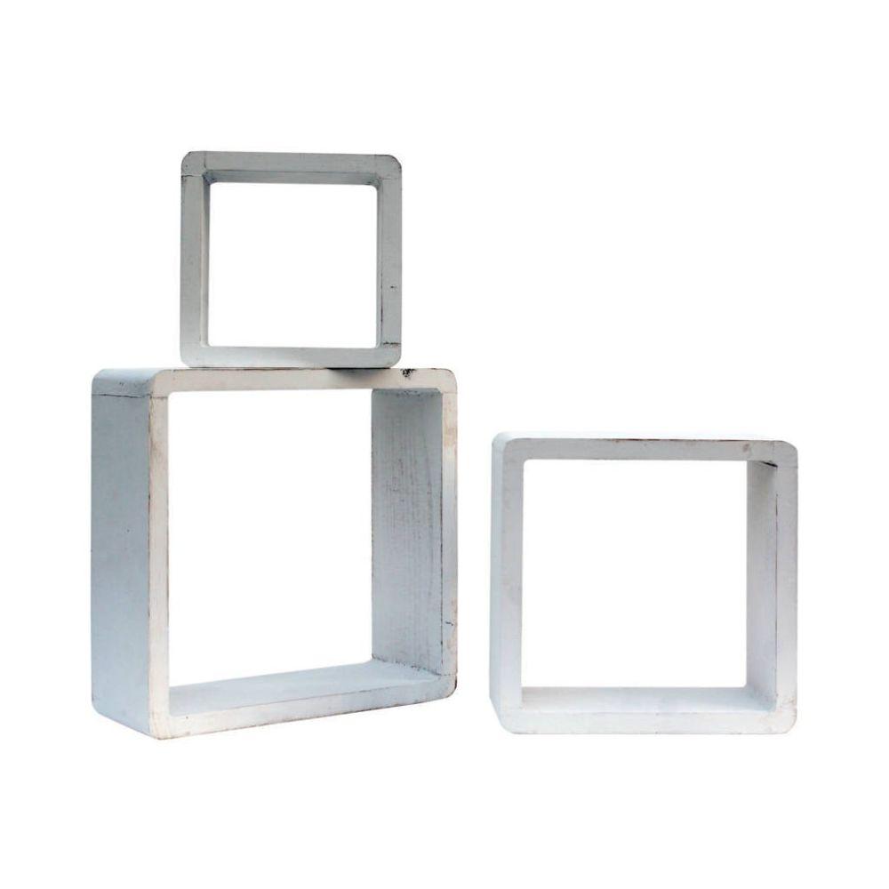 Mobili Rebecca Set 3 Étagères Murales Cube Support Murale Bois Blanc 26x26x9