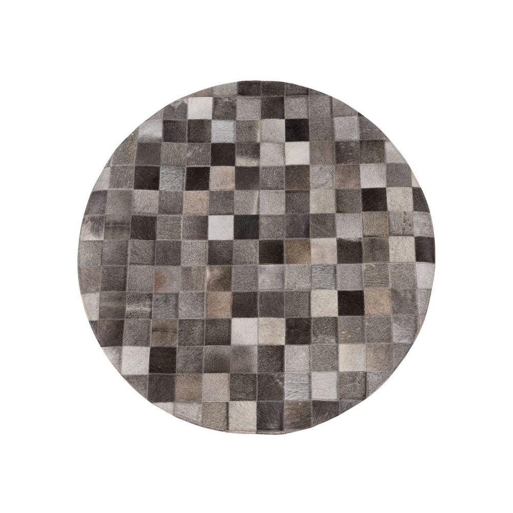 Beliani Beliani Tapis rond patchwork en cuir BERGAMA - gris