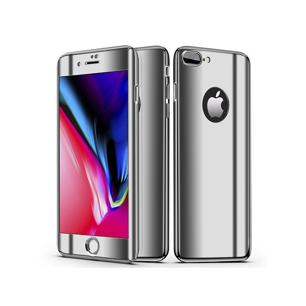 Evetane - Evetane Coque intégrale 360 Protection iPhone 7 plus/8 plus avec Film Protecteur en Verre trempé Housse Effet métallique Argent