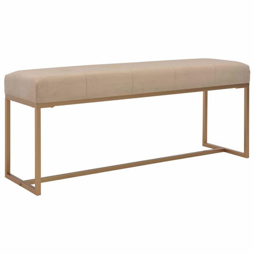 Helloshop26 Banquette pouf tabouret meuble banc 120 cm beige velours 3002050