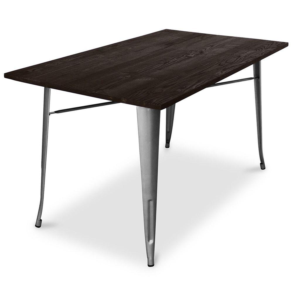 Privatefloor Table de salle à manger Tolix Pauchard Style - 140cm - Métal et Bois