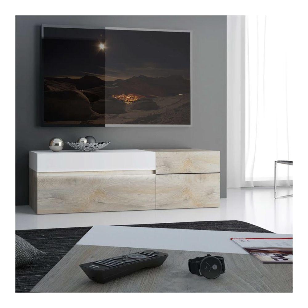 Nouvomeuble Grand meuble TV moderne couleur chêne et blanc FANO