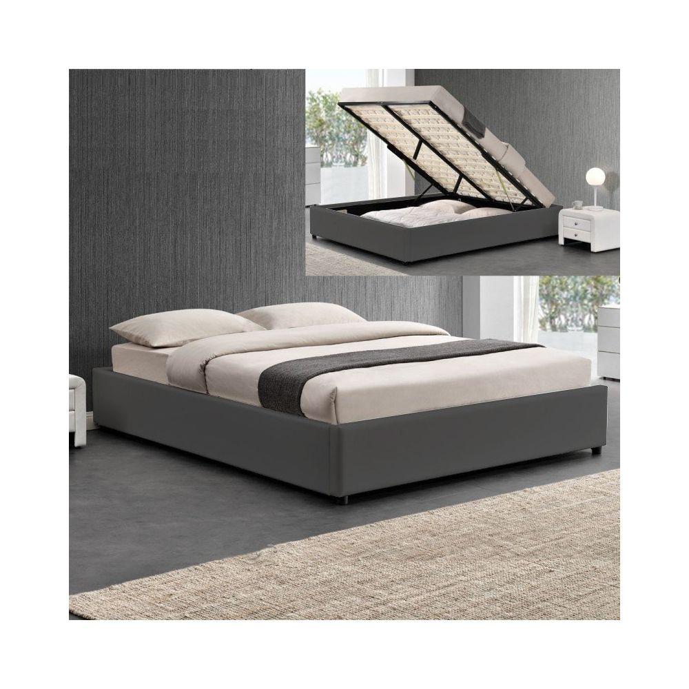 Meubler Design Sommier coffre de rangement Room - Gris - 180x200